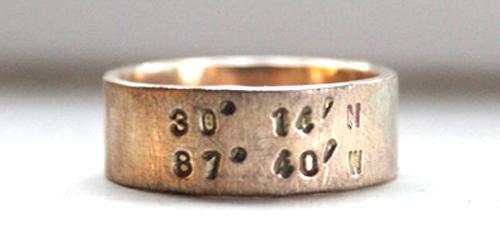 Latitude Longitude Ring, from tinahdee