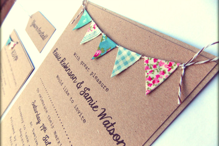 Bunting Wedding Invitation, by From Leoni With Love