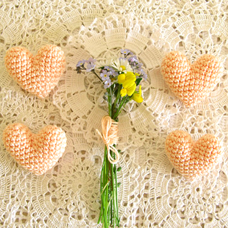 Crochet Heart Boutonnieres, by Cherry Time