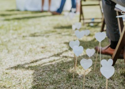 hearts on sticks wedding ceremony